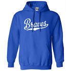Braves Script & Tail HOODIE - Hooded School Sports Team Sweatshirt - All Colors