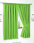 GREEN POLKA DOT UNLINED CURTAINS  NICE QUALITY PAIR WITH TIEBACKS.6 sizes