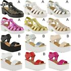 NEW WOMENS LADIES CHUNKY WEDGE SANDALS STRAPPY LOW BLOCK HEEL RETRO SHOES SIZE