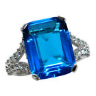 FABULOUS 10 CT BLUE TOPAZ 925 STERLING SILVER RING SIZE 5-10