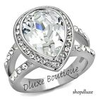 5.75 Ct Pear Shape Stainless Steel AAA CZ Engagement Ring Band Women's Size 5-10