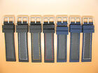 Silicone Rubber Carbon Fibre, Watch Strap 20, 22, 24mm Black Navy Blue, Stitched