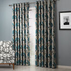 3QMart 2 Panels Eyelet Ring Top Floral Printed Blackout Window Curtain Drapes