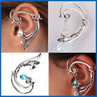 2 CHOICES GOTHIC SERPENT TEMPTATION EAR CUFF WRAP LONG CURVE SNAKE EARRING STUDS