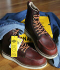NIB Mens 6-12 Bonanza Oxblood Leather Mocc Toe Work BOOTS Wedge Sole