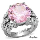 Women's Round Cut Pink Rose Tourmaline CZ Stainless Steel Ring Band Size 5-10
