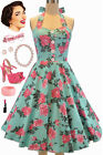 50s Style Miss Mabel LT. AQUA ROSE FLORAL Pinup HALTER Sun Dress with BUTTONS