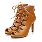 Women Leather Casual Open Toe black / brown High-Heel Gladiator Sandal pump Shoe
