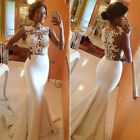 White Sexy Women Mermaid Lace Maxi Evening Prom Wedding Party Gown Dress S~XL