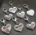 PICK YOUR CHARM Clip On Silver Love Heart MUM MOTHER ~ Attach to Zip Bag etc..