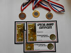 SPECIAL AWARD METAL MEDALS IN GOLD / SILVER OR BRONZE WITH CERTIFICATES= DWL