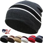 Striped Short Beanie Skull Cap Solid Color Men Women Winter Ski Hat