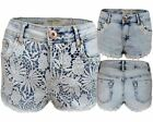 NEW WOMENS LADIES LACE LINING DAISY FLORAL SHORT JEANS ACID BLUE HOT PANT 6-12
