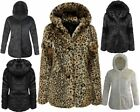 LADIES WOMENS BLACK FAUX FUR JACKET POM POM HOODED POCKET LONG PLAIN COAT 8-18