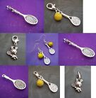 PICK YOUR CHARM ~ Clip On I Love Tennis Racket Racquet & Ball Charm OR Earrings