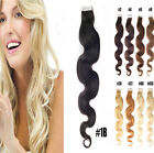 Seamless Tape In Skin Weft Remy Human Hair Extensions Body Wavy 20pcs 40pcs 20""