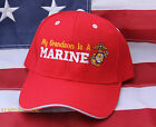 MY GRANDSON IS A US MARINE HAT WOWMH PIN UP GRAND PA FATHER MOM DAD MCRD GIFT