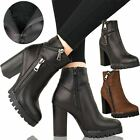 WOMENS LADIES BIKER BLOCK HIGH HEEL BOOTS CHUNKY FLEECE WINTER ANKLE SHOES SIZE