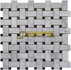 Carrara White Marble Mosaic Tile, CWMM1WEA, Basketweave With Black dot, Polished