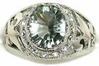 Men's Concave Cut Green Amethyst & Topaz Stainless Steel Topaz Ring  **31513