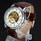 3Color Luxury Men Leather Band Automatic Mechanical Skeleton Analog Wrist Watch