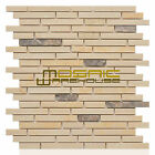 """Marble Mosaic Tile, """"Tibet Collection"""" MM 5103 - Crema Marfil, Strips, Polished"""