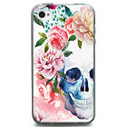 TPU Case for iPhone 4/4s - Water Color Skull Flower