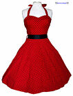 RED & BLACK POLKA DOT 1950S ROCKABILLY SWING RETRO VINTAGE PIN-UP DRESS 8-18