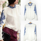 Woman Porcelain Chiffon Blouse Chinese Style Sleeve Tops Casual Collar Shirt Hot
