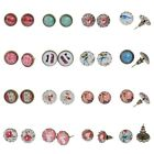 Women Girls Little Photo Printed Glass Metal Cabochon Ear Studs Earrings Fashion