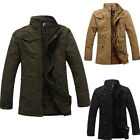 Mens Stand Collar Casual Winter Military Jacket Parka Warm Trench Coat Overcoat