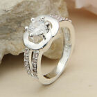 Women's 925 Sterling Silver Filled Crystal Wedding Engagement Lady Finger Ring