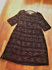 LADIES VELVET CUT OUT AZTEC DESIGN ALINE DRESS RRP £28.00 see size guide