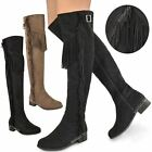 WOMENS LADIES OVER THE KNEE THIGH HIGH RIDING BOOTS FLAT TASSEL FRINGE SIZE NEW