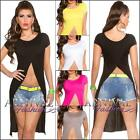 NEW SEXY 2 in 1 high low CROP WRAP TOP online XS S M L XL WOMEN'S CROPPED SHIRT