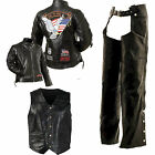 Womans Buffalo Leather Motorcycle Riding Jacket Vest & Chaps w/patches S - 3XL