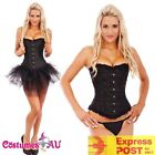 Burlesque Boned Moulin Rouge Corset Dress Up Costume Bustier Tutu Skirt