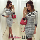 UK Womens Print Bodycon Cocktail Bandage Dress Ladies Party Evening Size 6-14