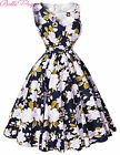 FLORAL 50'S 60'S SWING PINUP PARTY HOUSEWIFE VINTAGE STYLE PROM DRESS