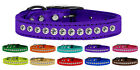 One Row Clear Jeweled Metallic Leather Dog Collars - 1 Row Clear Crystals