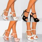 LADIES BLACK NUDE WHITE OPEN TOE ANKLE STRAP STRAPPY STILETTO HIGH HEELS SHOES