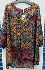 Womens Plus Size Top Blouse Red / Lime Multi Colors Size 4X NWT