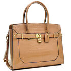 Dasein Patent Faux Croco Embossed Leather Padlock Large Satchel Shoulder Bag