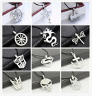 Stainless Steel Supermen a lot of Pendant Necklace with Leather Chain unisex