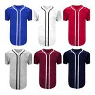 Mens Baseball Jersey raglan Plain T- Shirt Team Sports Button down Casual Shirts