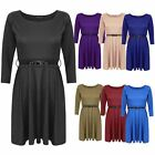 LADIES WOMEN BELTED FLARED MINI PLEATED 3/4 SHORT SLEEVES SKATER DRESS TOP 8-14