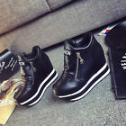 New Fashion Womens PU leather Sneakers Toe Sports Athletics Heighten Round Shoes