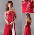 Womens Formal Wedding Ball Wine RED Gown Bridesmaid Prom Cocktail Evening Dress
