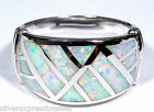 White Fire Opal Inlay Solid 925 Sterling Silver Men's or Women's Ring Sz 8,9,10