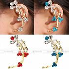 1pc Gold Plated Crystal Flower Ear Cuff Wrap Clip On Women Earrings Non Piercing